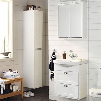 Läs mer om badrumsskåpet, klicka här   Högskåp Hafa Moon Vit Högblank Ramfront