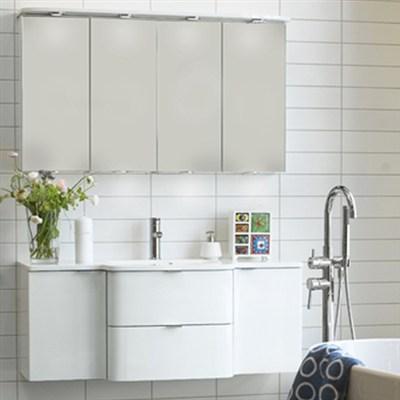 Läs mer om badrumsskåpet, klicka här   Möbelpaket Noro Sand Vit Högblank