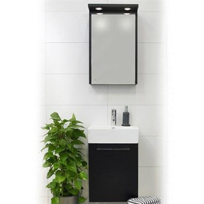 Läs mer om badrumsskåpet, klicka här   Möbelpaket Noro Single Svart Högblank