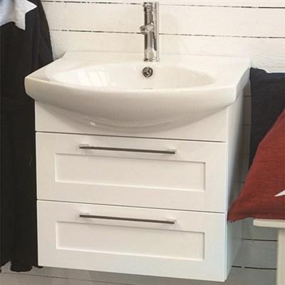 Läs mer om badrumsskåpet, klicka här   Tvättställsskåp Noro Polo Matt Vit Ramlucka