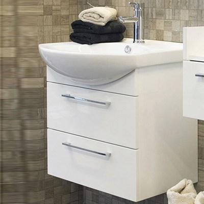 Läs mer om badrumsskåpet, klicka här   Tvättställsskåp Noro Polo Vit högblank