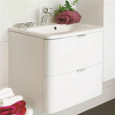 Läs mer om badrumsskåpet, klicka här   Tvättställsskåp Noro Sand Vit Högblank