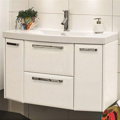 Läs mer om badrumsskåpet, klicka här   Tvättställsskåp Noro Star Vit Högblank