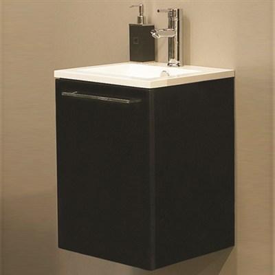 Läs mer om badrumsskåpet, klicka här   Tvättställsskåp Noro Uno 410 Svart Högblank