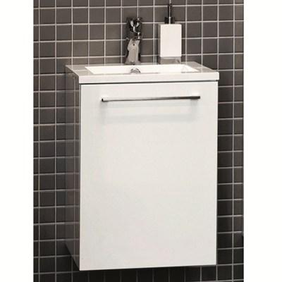 Läs mer om badrumsskåpet, klicka här   Tvättställsskåp Noro Uno 410 Vit Högblank